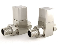 Eastgate Square Brushed Straight Radiator Valves (1 pair)